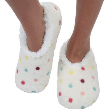 Modern White Lotsa Dots Ladies Medium 5/6 UK Snoozies Slippers